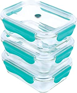 ICONYC Glass Food Storage Container with Tritan Lids(1050mL / 35oz) (Set of 3)- BPA Free Glass Meal Prep Container Set  Eco-Friendly Glass Containers for Home Kitchen & Restaurant (Green)