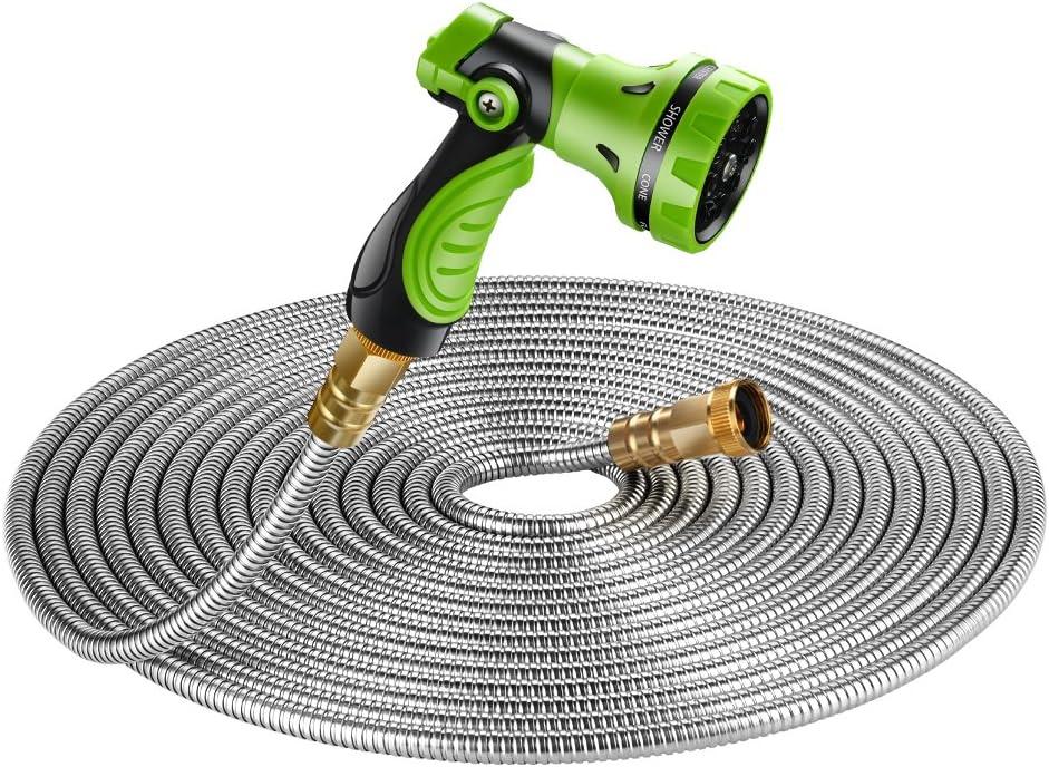 Stainless Steel Metal Car Garden Hose Water Pipe Flexible Lightweight w// Nozzle