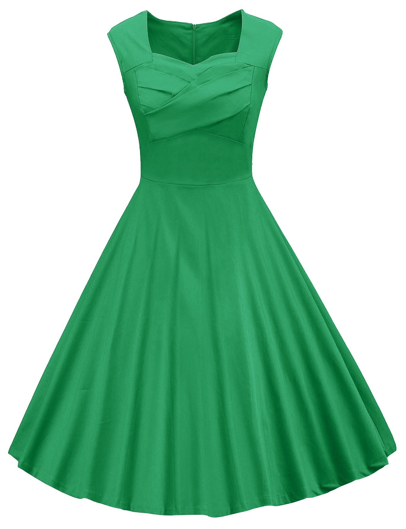 VOGVOG Women's 1950s Retro Vintage Cap Sleeve Party Swing Dress, Green, Medium