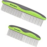 Pet Grooming Combs 2-Pack by Petio Basics with Round Stainless Steel Pins and Nonslip Grip, Removes Tangles and Knots from Fur