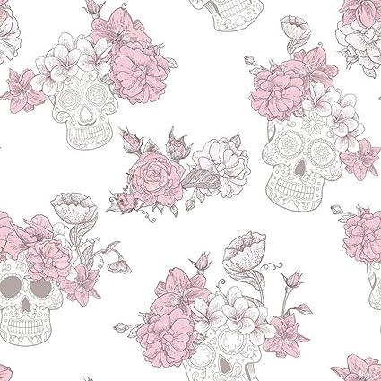 Skull Roses Sfondo Floreale Fiore Strutturato Glitter Lucido Grigio