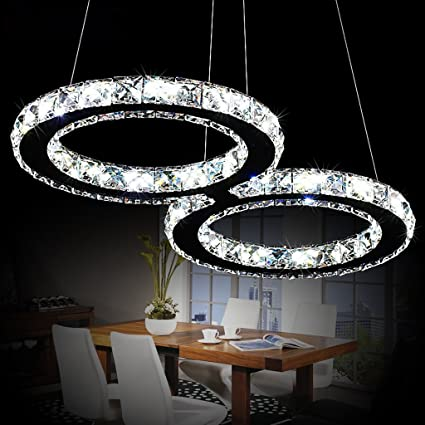 unique pendant lighting fixtures. Modeen Luxury Modern K9 Crystal LED Pendant With Unique Two Rings,  Home Ceiling Light Unique Pendant Lighting Fixtures