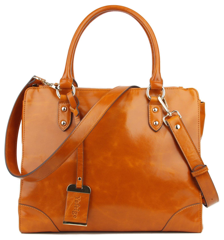 Yafeige Women's Vintage Leather Designer Handbags Shoulder Bag Top-handle Tote Cross Body Bag(Brown)