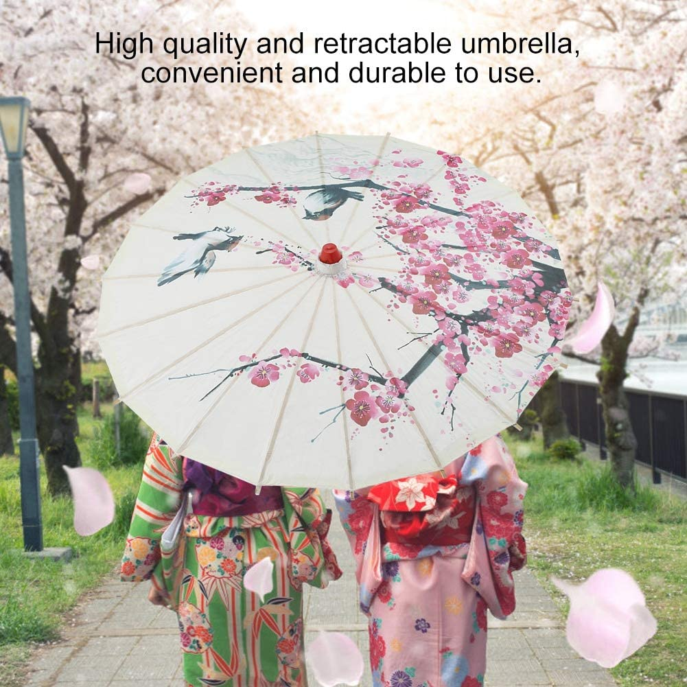 Handmade Umbrella Oil Paper Classical Painting Plum Blossoms Dancing Props Retractable Rainproof Parasol with Wooden Handle