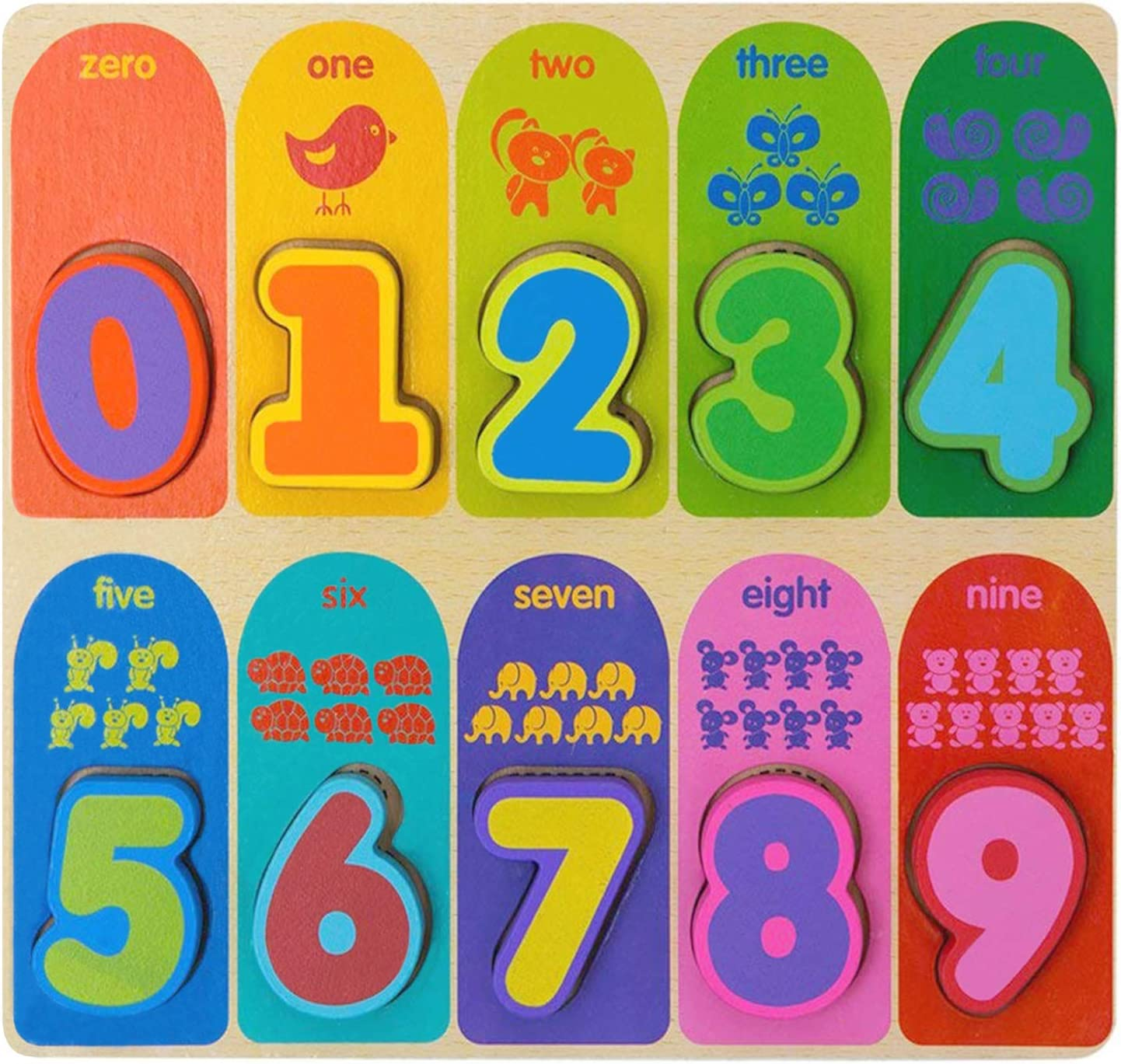 Jacootoys Number Wooden Chunky Puzzle Preschool Early Educational Toys Gift for