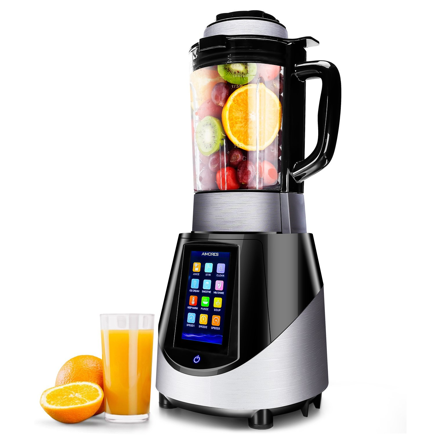Commercial Blender Aimores - Smoothie Soup Maker - Heating, Programmed Settings - LED Touch Screen Panel - 56oz. Glass Pitcher - ETL/FDA Certified
