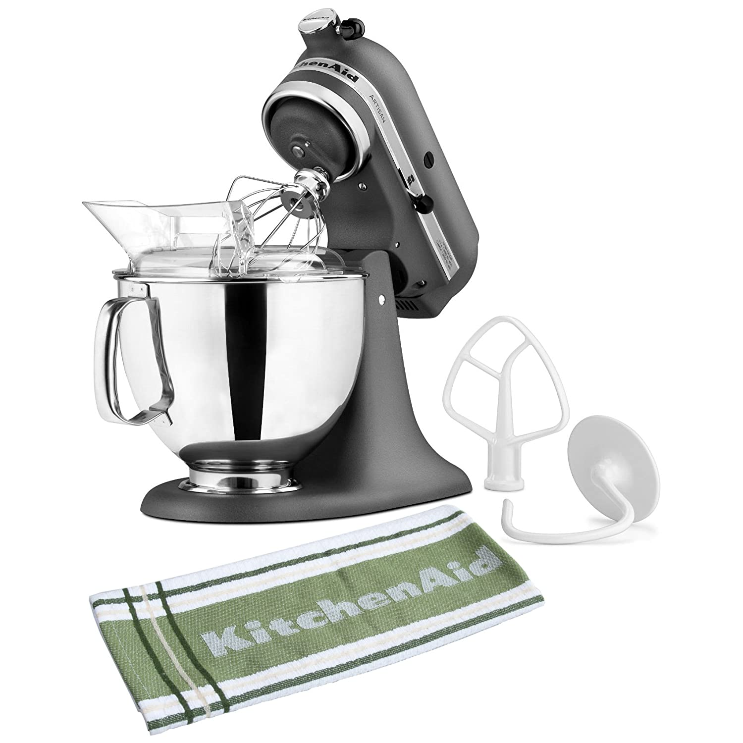 KitchenAid KSM150PSGR Artisan Series Imperial Grey Stand Mixer with Free 131227/JKT/KT5878 Kitchen Towel