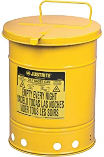 Red 0.45 Gallon Capacity Justrite 09410 Galvanized Steel Oily Waste Can with Hand Operated Cover