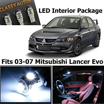 classy autos white led lights interior package for lancer evo 8 9 7 pieces