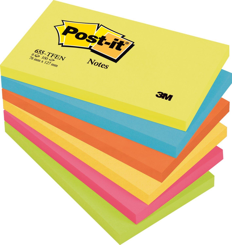 Post-it 654-TFEN - 6 Blocchetti Post It, 100 Fogli per blocchetto, 76 mm x 76 mm, Colori Assortiti 3M Blocchettiriposizionabili Post-it®