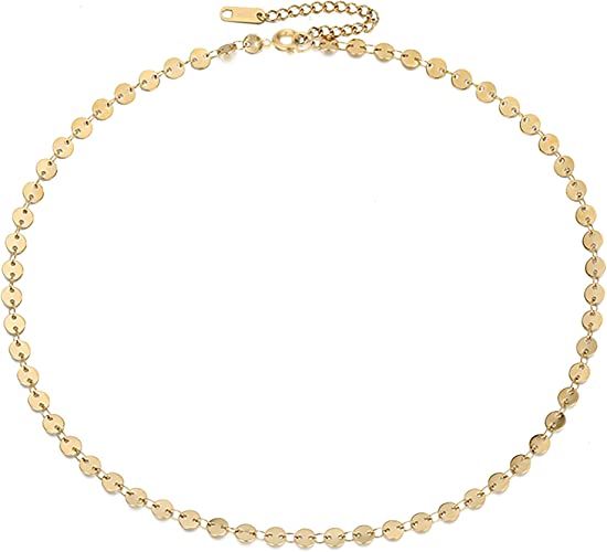 Dainty Coin Choker Necklace with Spikes Discs Sterling Silver Mothers day gift Circle Delicate  Gold Necklace bridesmaid gift Birthday gift