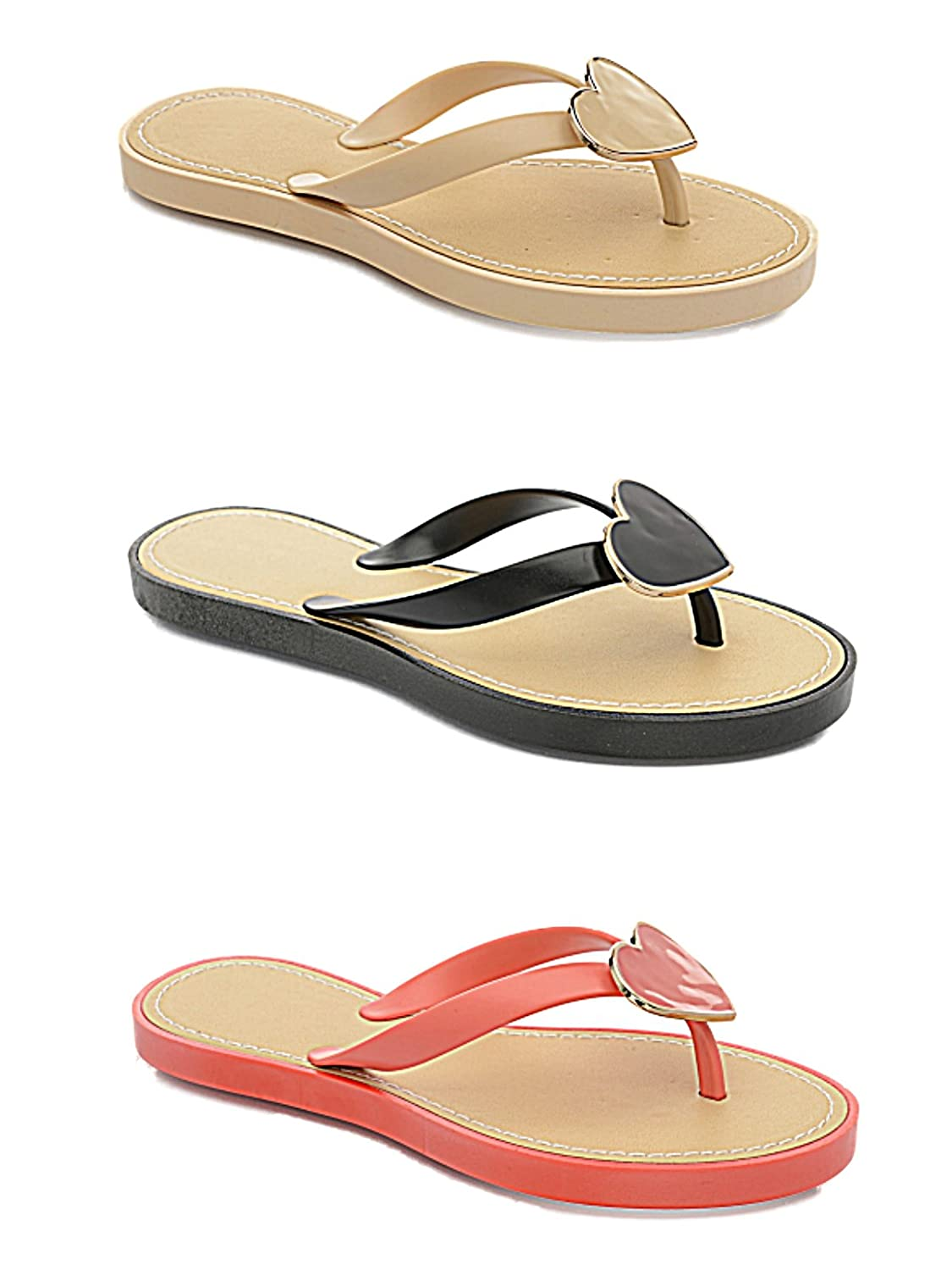 Ladies Girl Jelly LP3836 Heart Flat Flip Flop Toe Post Summer Beach Holiday  Sandal Shoe Size 3-8 (UK 4, Nude): Amazon.co.uk: Shoes & Bags