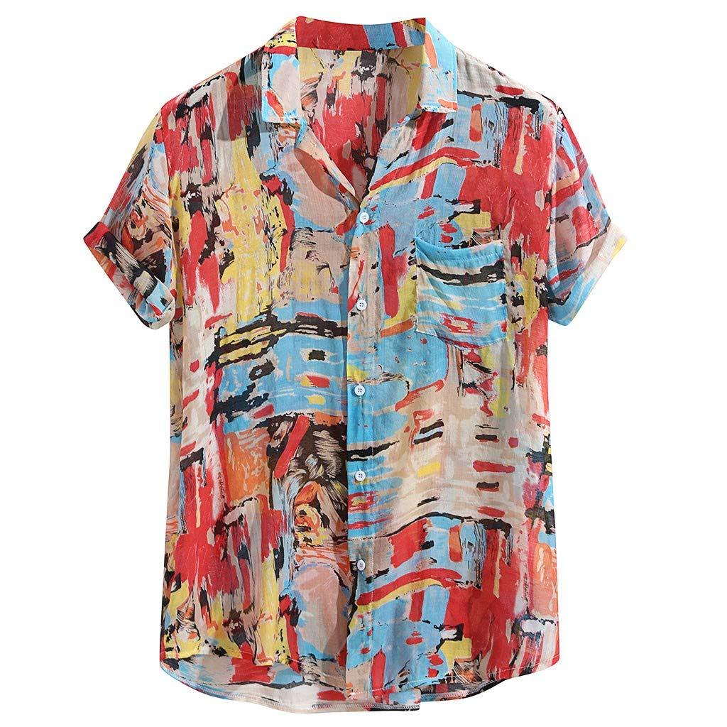 Mens Fashion Pure Short Sleeves Comfortable Pocket Blouse Top IHGTZS Shirts for Men