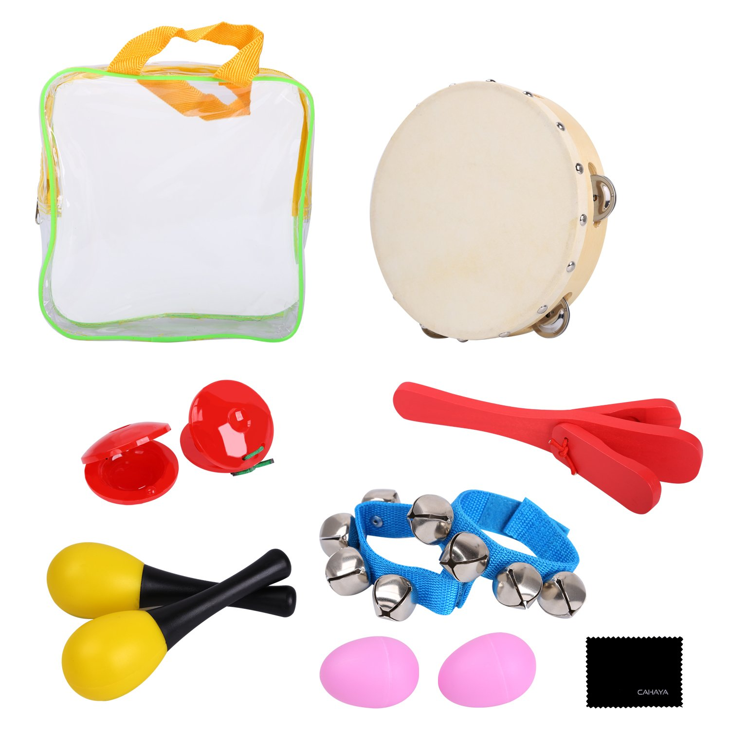 CAHAYA Percussion Sets Enlighten Toys with Tambourine Bells Maracas Castanets Hand Bell Ankle Bell Egg Shaker for Toddles CY0094-CA