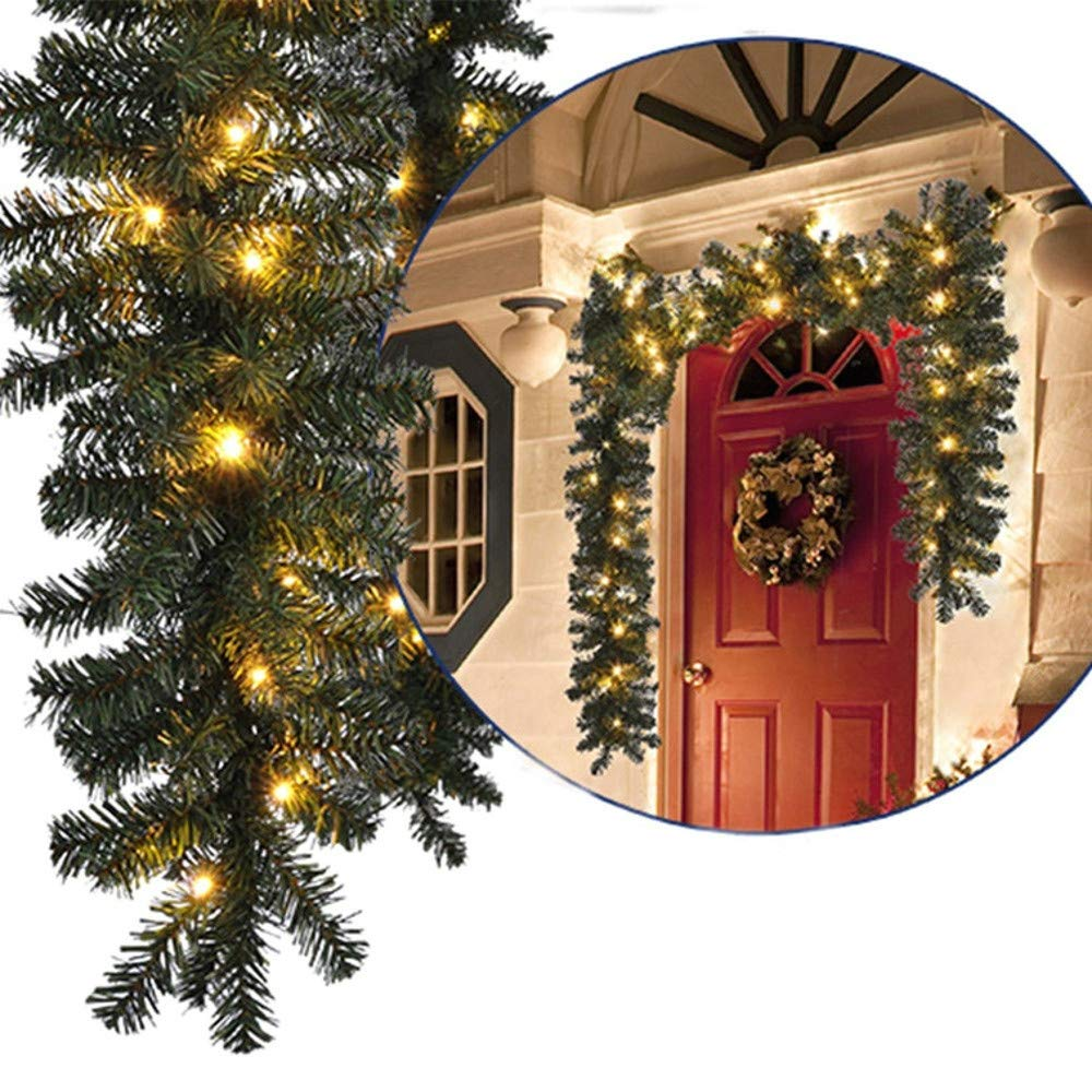 YLCOYO 2.7M 200 Branches Christmas Decorations Ornaments Xmas Tree Garland Rattan Home Wall Pine