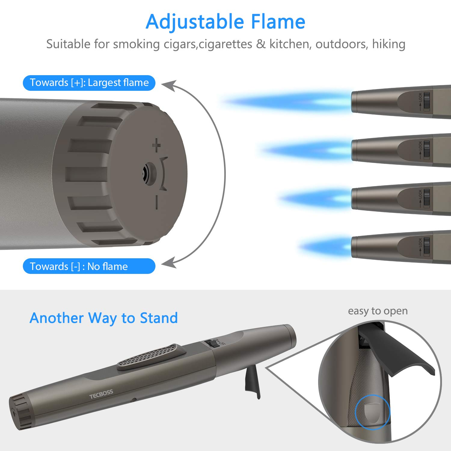 Torch Lighter, Tecboss Lighter Adjustable Jet Flame Portable Refillable Butane Lighters for Camping Cooking BBQs Fireworks, Metal Casing, Gift Box (Gas Not Included)