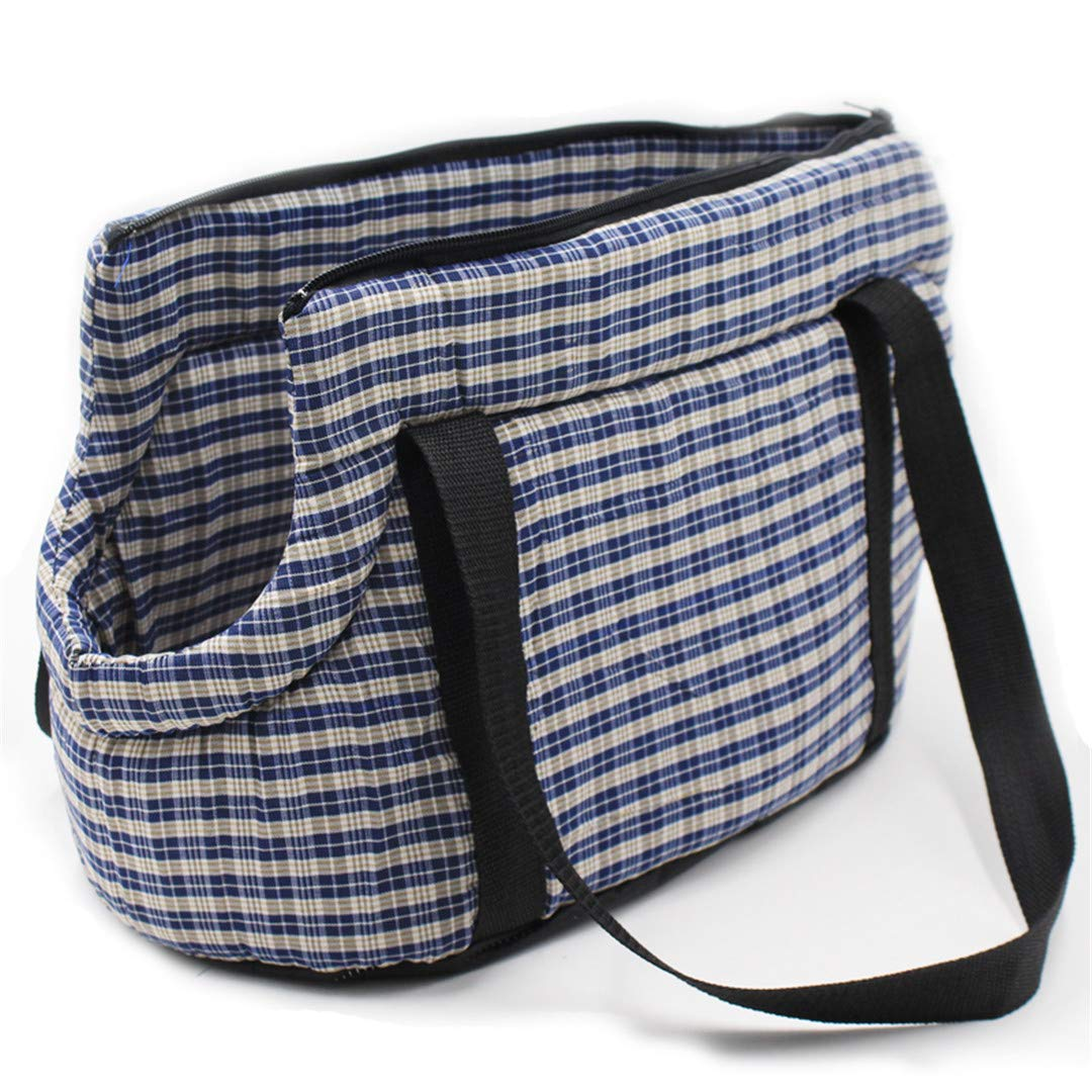 bluee plaid 40x25x20cm bluee plaid 40x25x20cm Portable Pet Dog Carrier Bag Outdoor Travel Bags for Small Dogs Plaid Cotton Shoulder Carrying Puppy Pet Supplies