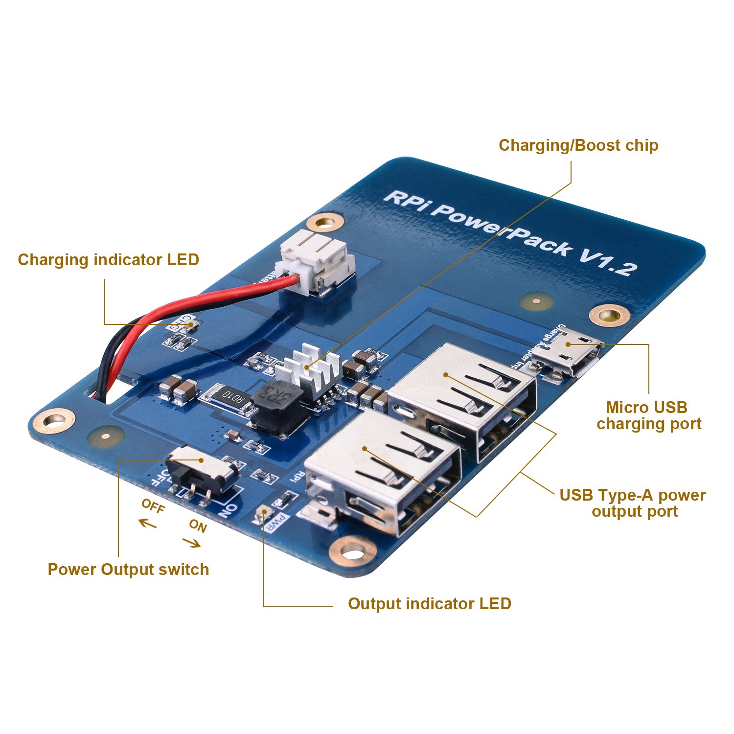 for Raspberry Pi Kuman Lithium Battery Pack Expansion Board RPi Power Pack Power Supply+ USB Cable + 2 layer Acrylic Board for Pi 3 2 Model B KY68C by Kuman (Image #3)