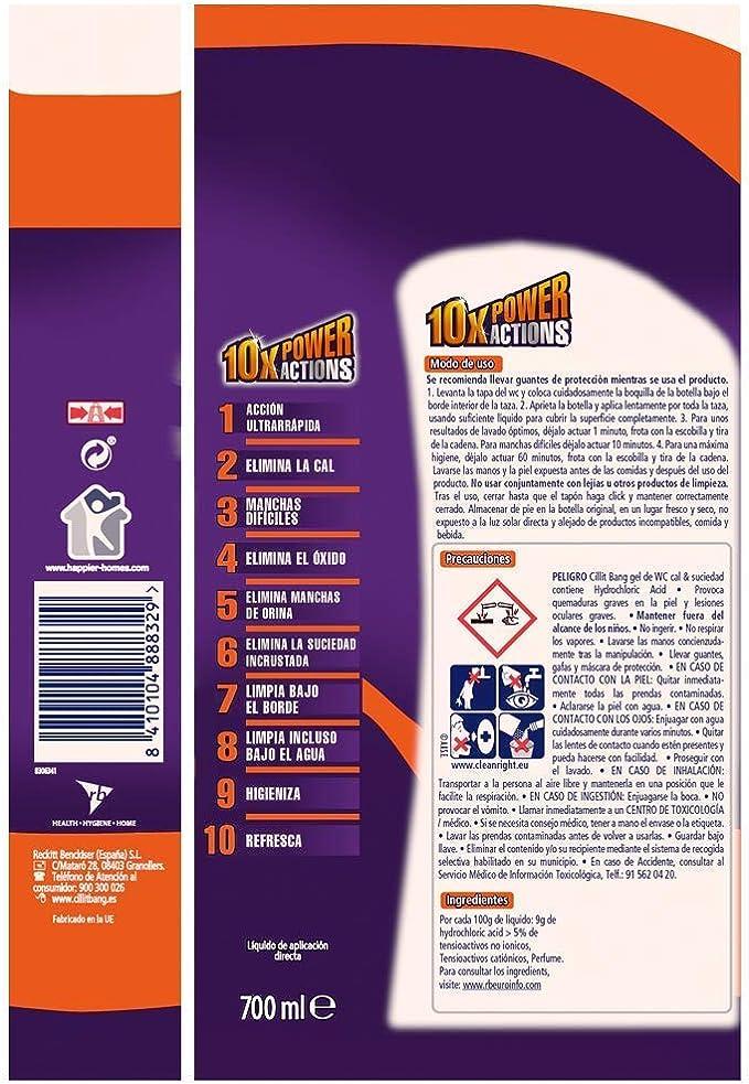 Cillit Bang WC PowerGel Cal & Suciedad - Paquete de 3: Amazon.es: Salud y cuidado personal