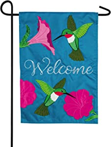 Evergreen Flag Hummingbirds and Petunias Garden Applique Flag - 13 x 1 x 18 Inches Detailed and Durable Outdoor Decor for Homes and Gardens