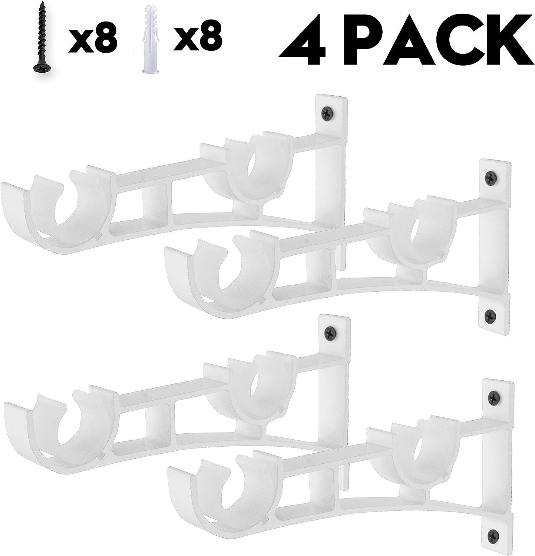AddGrace Lot de 4 Supports de Tringle /à Rideaux en Alliage daluminium pour Tringle /à Rideaux Large Noir