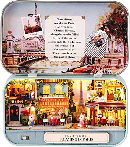 DIY LED Mini Theatre Dollhouse Miniature Chinese Doll House Kit Kids Toys Gifts