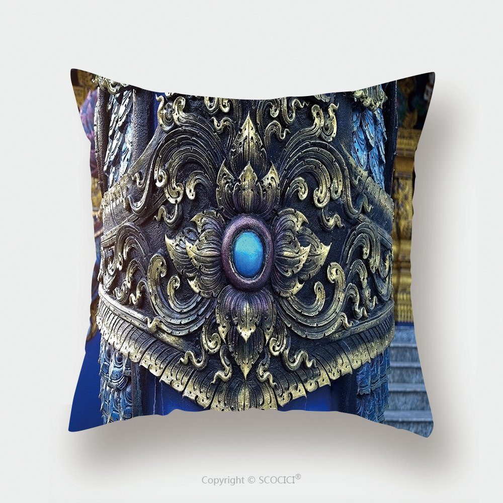 Custom Satin Pillowcase Protector Traditional Thai Stucco Pattern Decorative In Buddhist Temple Chiang Rai Thailand 349086620 Pillow Case Covers Decorative by chaoran