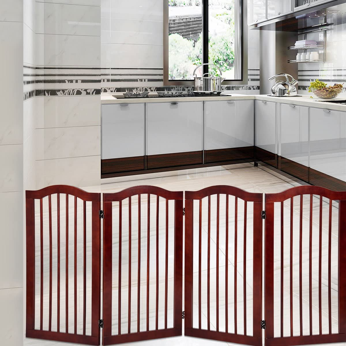 24 Giantex 3 Panel Wood Dog Gate Pet Fence Barrier Folding Freestanding Doorway Fence Doggie Puppy Fencing Enclosure System Indoor Safety Gate for Dogs