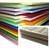 Dalton Manor A4 Coloured Card 250 Sheet Pack 160gm Supplied in a Weston® Clear Craft Storage Box - 25 Assorted Colours