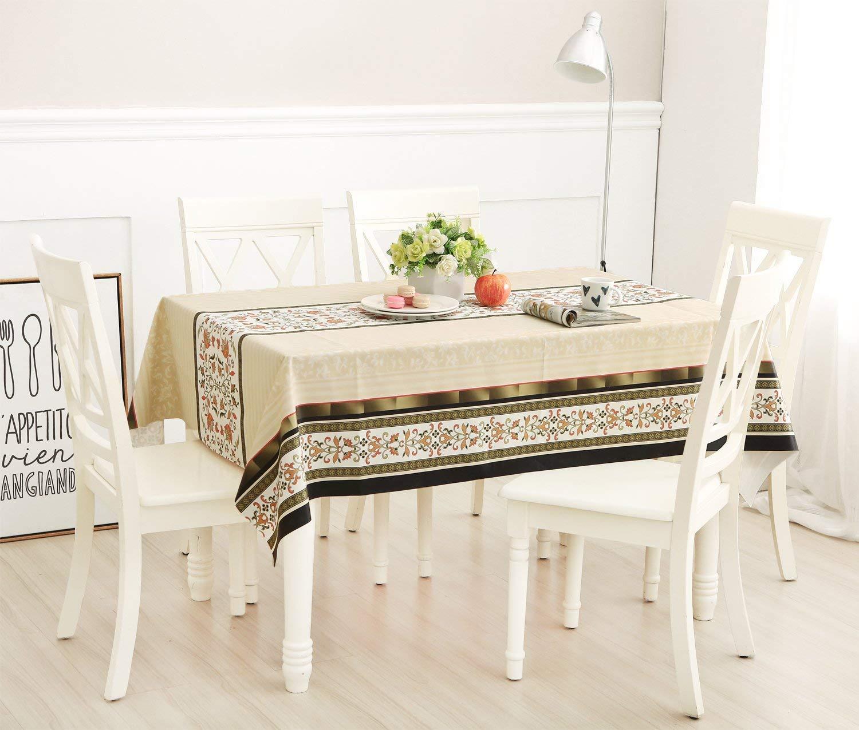 Topmail Nappe PVC Rectangulaire Imperm/éable Preuve dhuile Anti-Rayures Couverture de Table de D/îner Nappe de Table Antid/érapant pour Cuisine Pique-Nique 137x180CM, Cr/ème