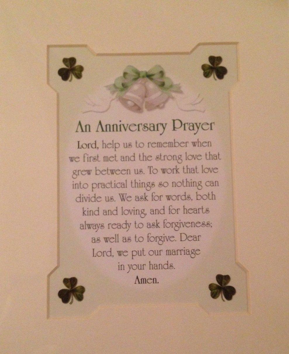 Charming Anniversary Prayer Matted 8x10 Irish Print