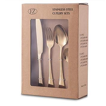 YiRAN Set de cubiertos 24 piezas de acero inoxidable con cuchillo chuletero, chapado en oro acabado pulido brillo, servicio para 6 (Oro): Amazon.es: Hogar