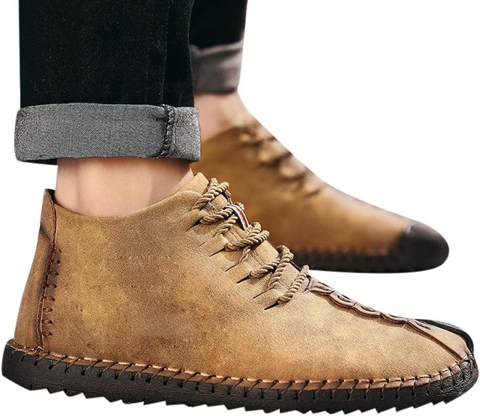 Men Flat high top Boots Round Toe Vintage Casual Lace Up Outdoor Ultra-Light Waterproof Daily Shoes