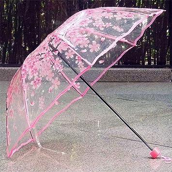 Singhi Paraguas Transparente Mujer,sombrilla Transparente Cereza en Flor Diámetro: 93 cm Aprox_Rosa