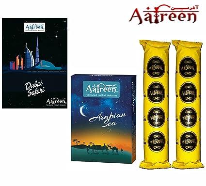 Aafreen Hookah Molasses Hookah Flavours (Arabian Sea & Dubai Safari) / With 20 Disc Hookah Charcoals/Combo Offer/Pack Of 4