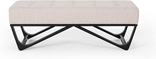 Great Deal Furniture Emily Contemporary Fabric Ottoman Bench, Beige and Black
