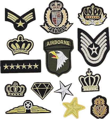 Bella 14pcs Parches Apliques Patches Sticker Parche Termoadhesivo Bordado US Ejército Corona Estrella Insignia Badge Estilo militar Iron Iron On Patch para Camiseta Jeans Ropa Bolsas: Amazon.es: Hogar