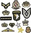 Bella 14pcs Parches Apliques Patches Sticker Parche Termoadhesivo Bordado US Ejército Corona Estrella Insignia Badge Estilo militar Iron Iron On Patch para Camiseta Jeans Ropa Bolsas