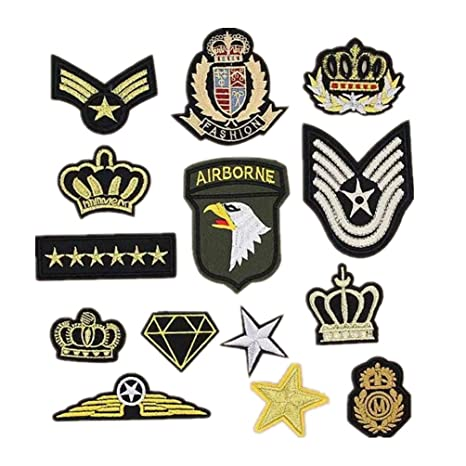 Bella 14pcs Parches Apliques Patches Sticker Parche Termoadhesivo Bordado US Ejército Corona Estrella Insignia Badge Estilo militar Iron Iron On Patch ...