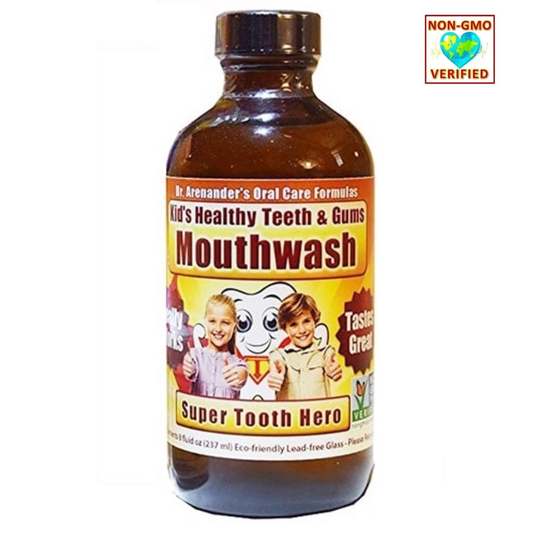 Best Kid's Healthy Teeth & Gum Mouthwash - Kid's Love The Minty Taste! Organic/nonGMO - Anti-Cavity, Anti-Plaque, Restores Gum Health