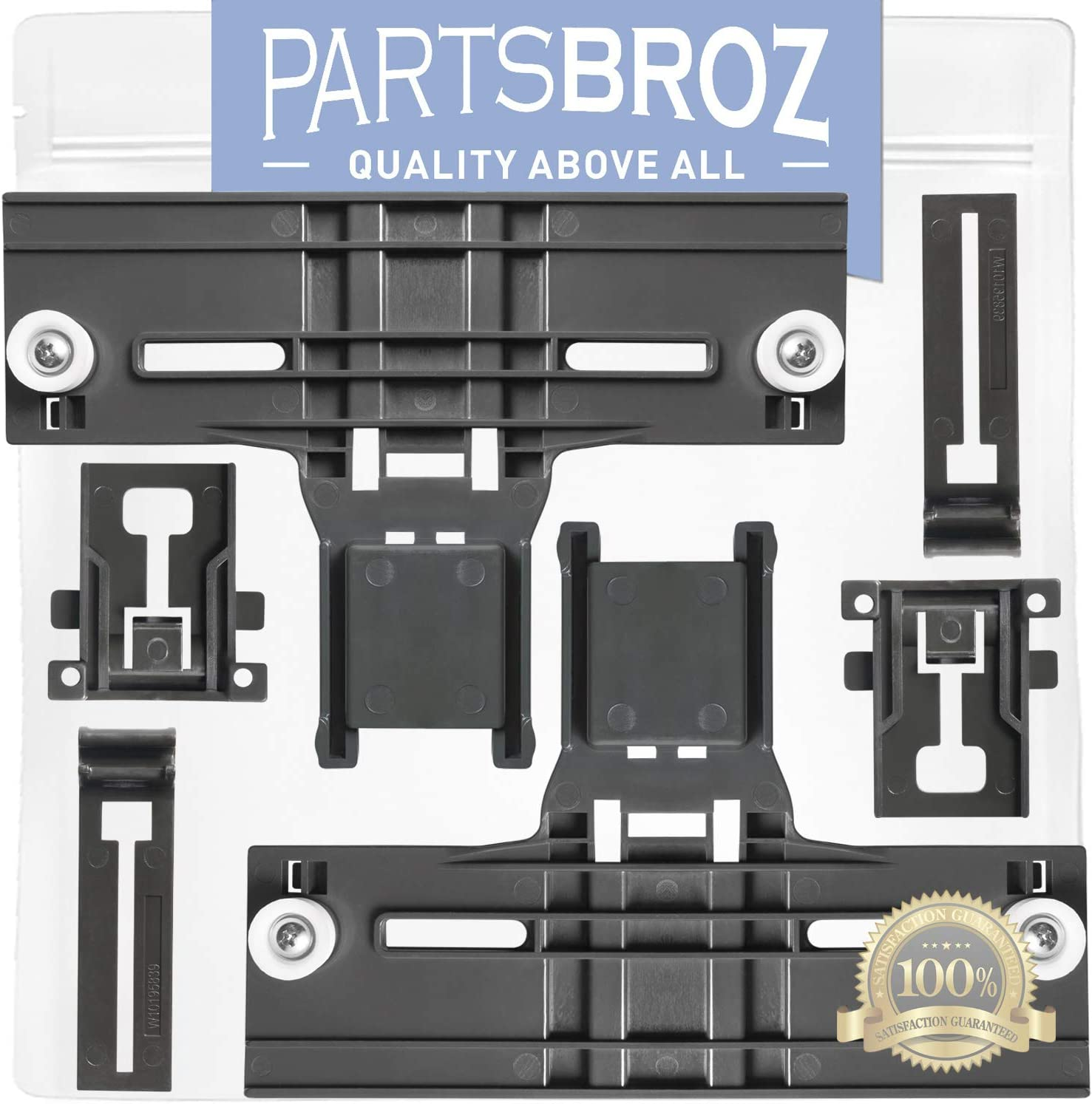 W10350376 & W10195840 & W10195839 (Pack of 2) Dishwasher Rack Adjuster Kit Replacement for Kenmore Dishwashers by PartsBroz Replaces W10712394, AP5956100, PS10064063, W10253546, AP6016800, AP6016799