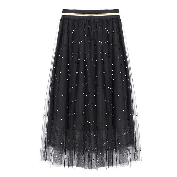 2647d13749 Jeremy Martin Tulle Beading Skirt Women Mesh Beading Tulle Skirt Silver  Pearl Elastic Waist Pleated Mesh Skirt at Amazon Women's Clothing store:
