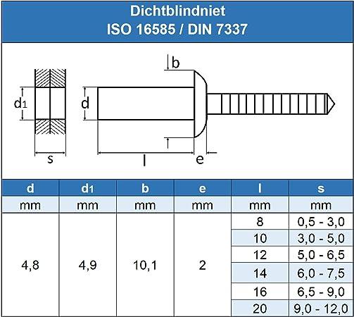 Remaches ciegos 5 x 12 mm, 30 unidades, con cabeza plana, DIN 7337, ISO 15983 Eisenwaren2000