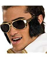 Star Power Rock & Roll Elvis Sideburn Sunglasses, Gold Black, One Size
