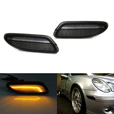 iJDMTOY Smoked Lens Amber Full LED Bumper Side Marker Light Kit Compatible With 2001-2007 Mercedes W203 C-Class Sedan, Powered by 30-SMD LED, Replace OEM Front Sidemarker Lamps: Automotive [5Bkhe0906812]