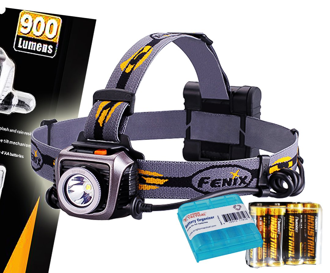 Fenix HP15UE (HP15 UE) Ultimate Edition 900 Lumens Iron Gray Expedition Headlamp with 4x AA Batteries and LumenTac Battery Organizer Sample by Fenix