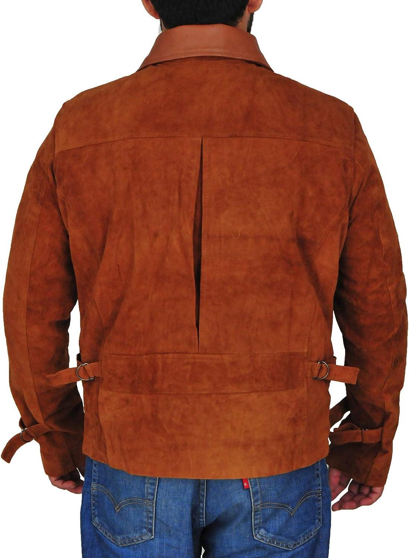 TrendHoop Mens Outerwear Tan Brown Suede Vintage Biker Silver Zippers Jacket