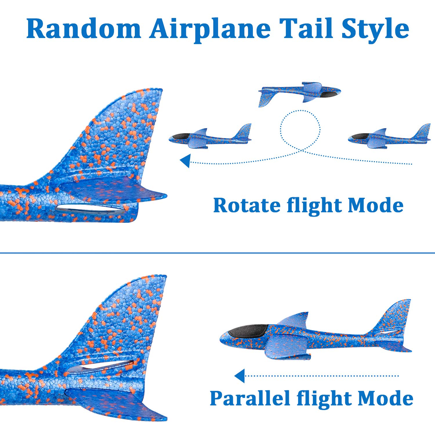 WATINC 6 pcs Airplane 14.5inch Manual Foam Flying Glider Planes Throwing Fun Challenging Games Outdoor Sports Toy Model Air Plane Two Flight Modes Blue Orange Aircraft for Boys Girls by WATINC (Image #4)