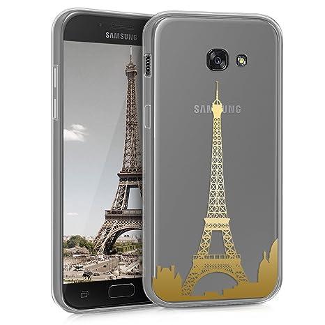 kwmobile Funda para Samsung Galaxy A5 (2017) - Carcasa Protectora de [TPU] con diseño del Skyline de París en [Dorado/Transparente]