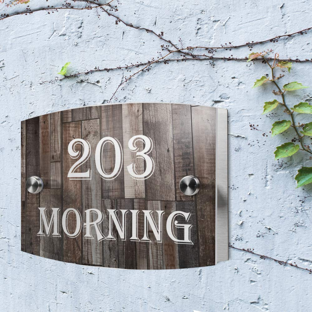 c6248de3f2f0 Amazon.com: JEXICASE Customized Personalised Door Plate, Wood Grain Pattern  Acrylic Modern House Arc Frosted Sign Door Number Name Road Plaque-Layout  2: ...